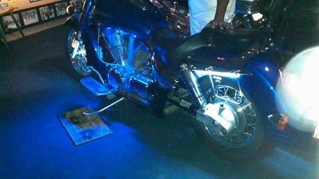 motorcycle with blue LED lights installed